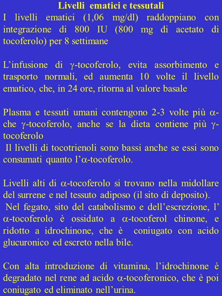 Livelli ematici e tessutali