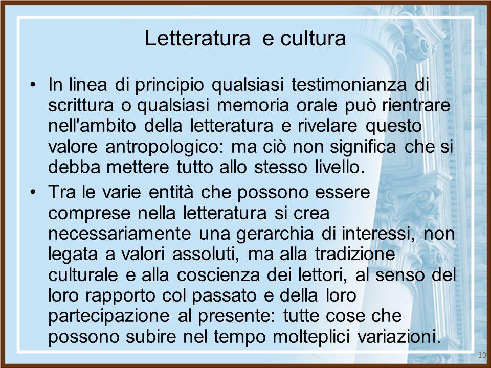Letteratura e cultura