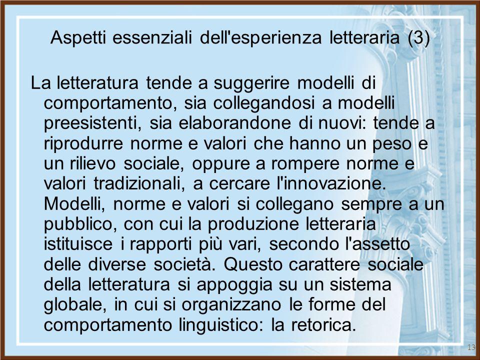 Aspetti essenziali dell esperienza letteraria (3)