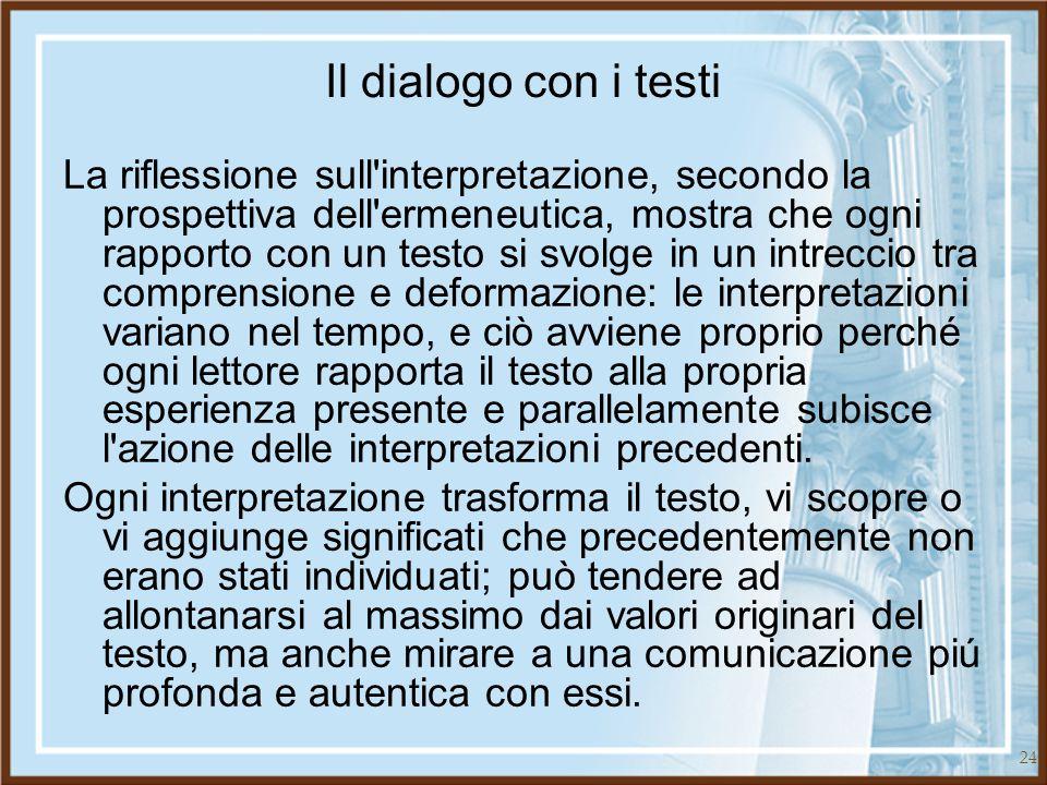 Il dialogo con i testi