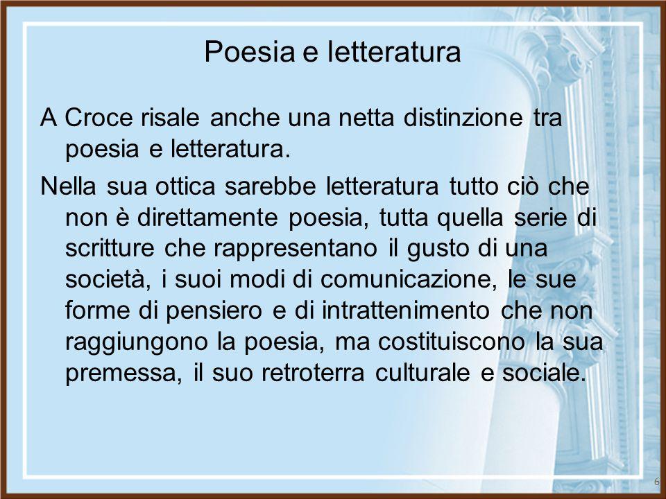 Poesia e letteratura A Croce risale anche una netta distinzione tra poesia e letteratura.