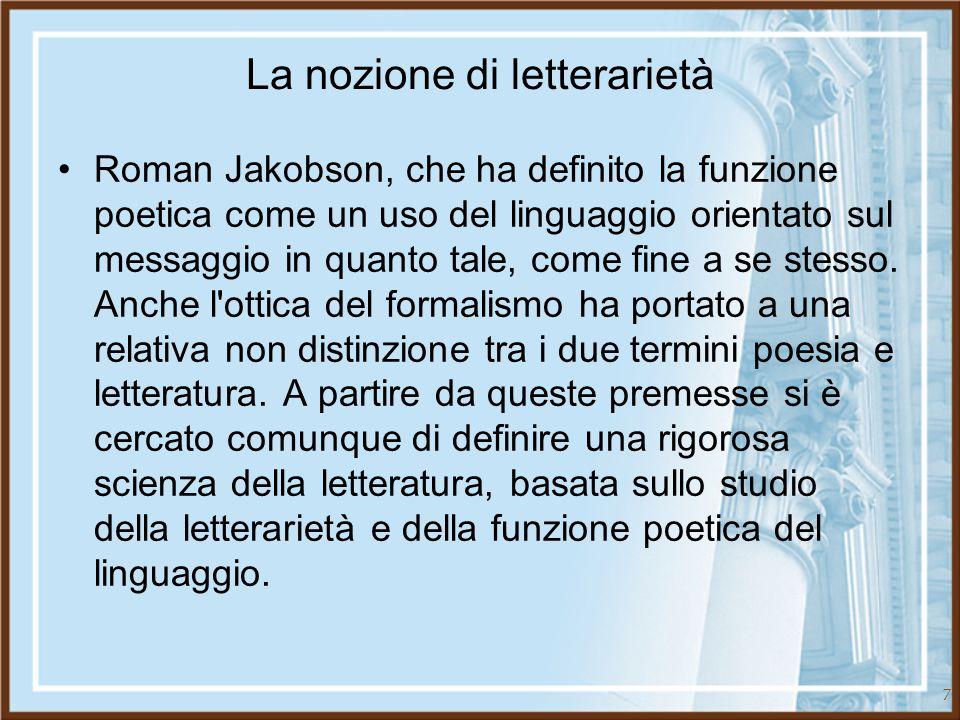 La nozione di letterarietà