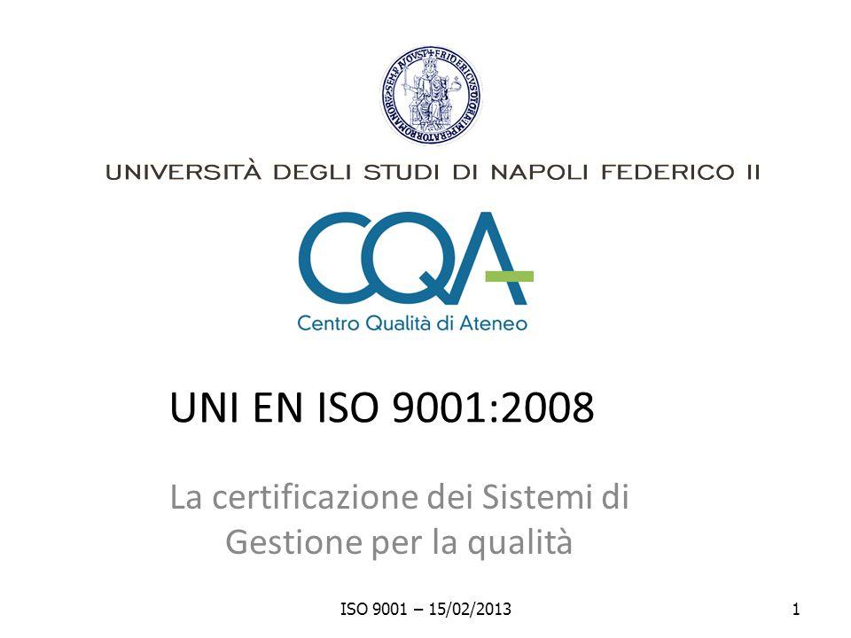 La certificazione dei Sistemi di Gestione per la qualità
