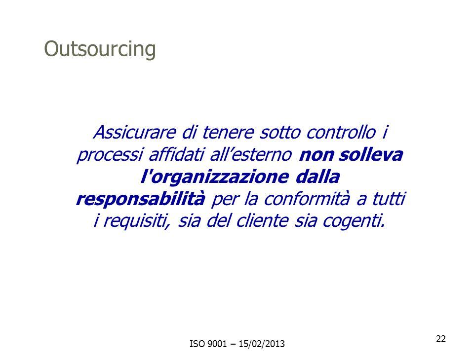 Outsourcing Assicurare di tenere sotto controllo i processi affidati all'esterno non solleva l organizzazione dalla.