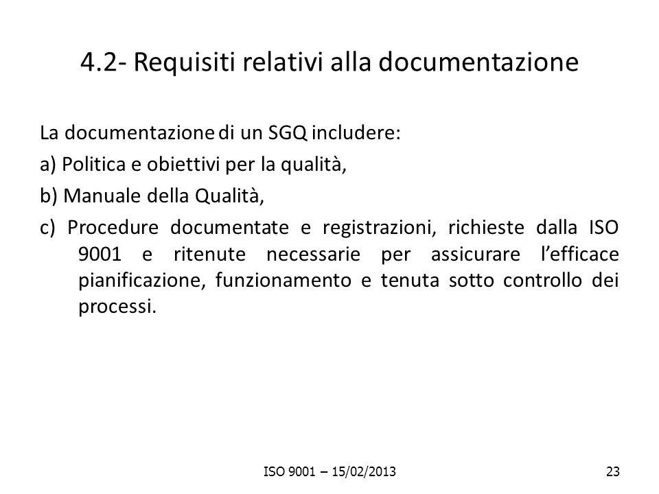 4.2- Requisiti relativi alla documentazione
