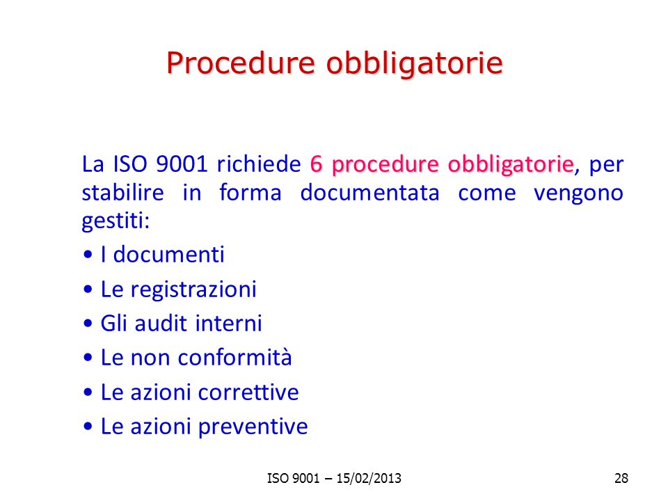 Procedure obbligatorie