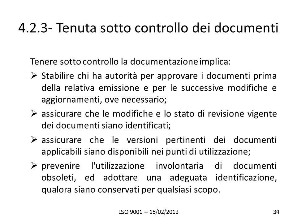 4.2.3- Tenuta sotto controllo dei documenti