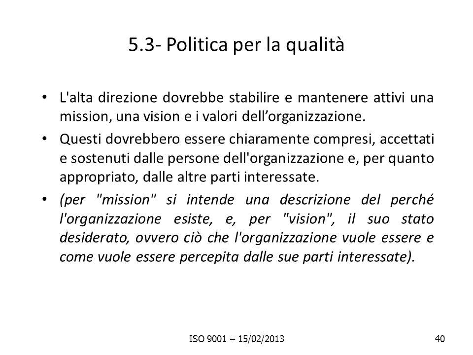 5.3- Politica per la qualità