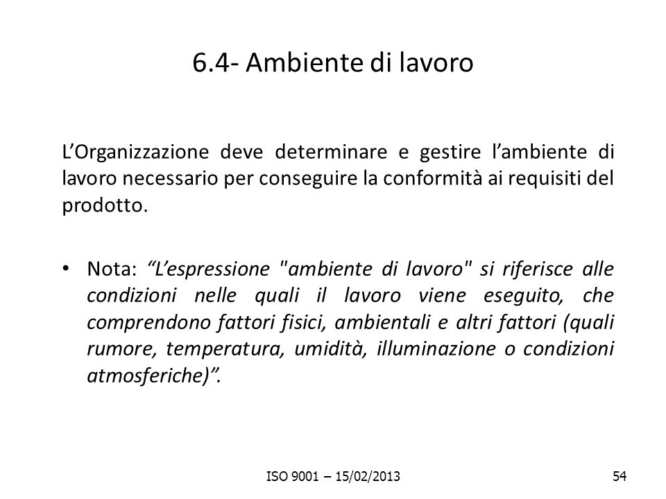 6.4- Ambiente di lavoro