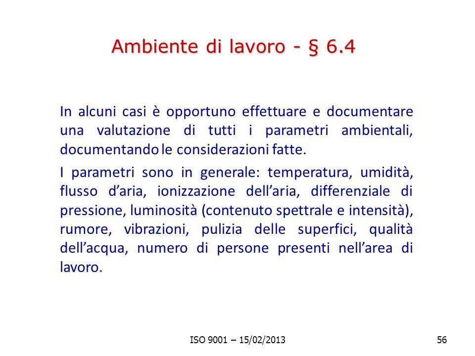 Ambiente di lavoro - § 6.4
