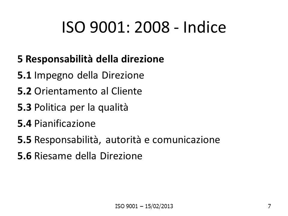 ISO 9001: 2008 - Indice