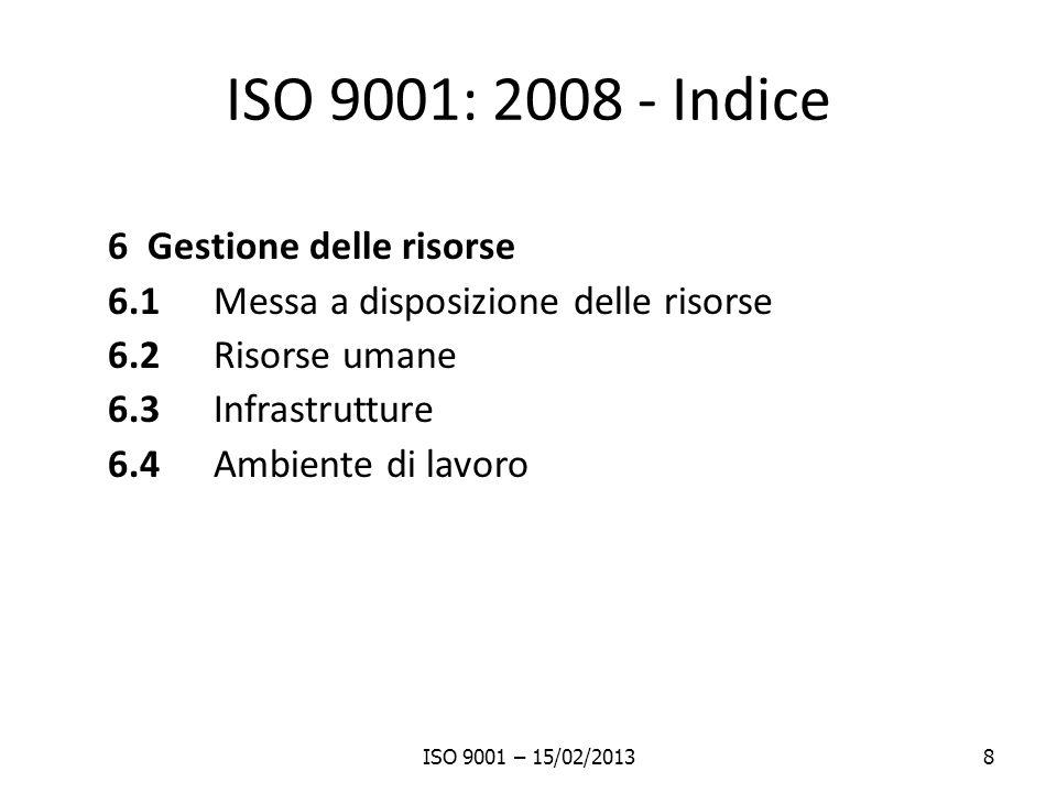 ISO 9001: 2008 - Indice 6 Gestione delle risorse 6.1 Messa a disposizione delle risorse 6.2 Risorse umane 6.3 Infrastrutture 6.4 Ambiente di lavoro