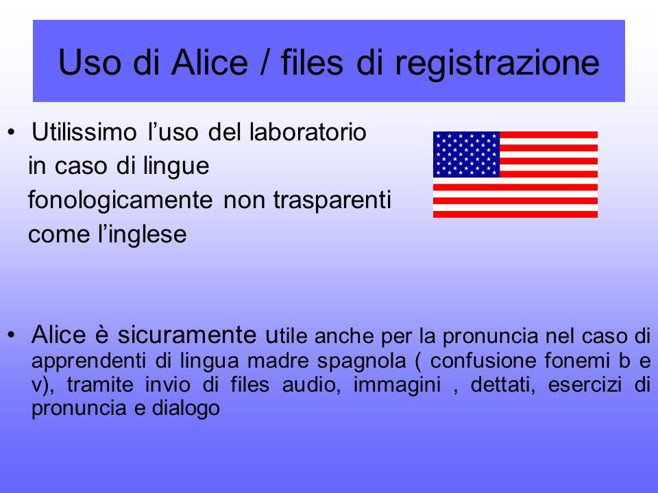 Uso di Alice / files di registrazione