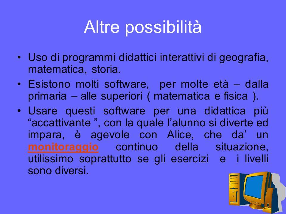 Altre possibilità Uso di programmi didattici interattivi di geografia, matematica, storia.