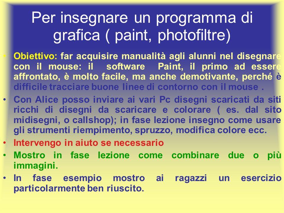 Per insegnare un programma di grafica ( paint, photofiltre)