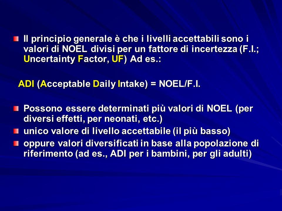 Il principio generale è che i livelli accettabili sono i valori di NOEL divisi per un fattore di incertezza (F.I.; Uncertainty Factor, UF) Ad es.: