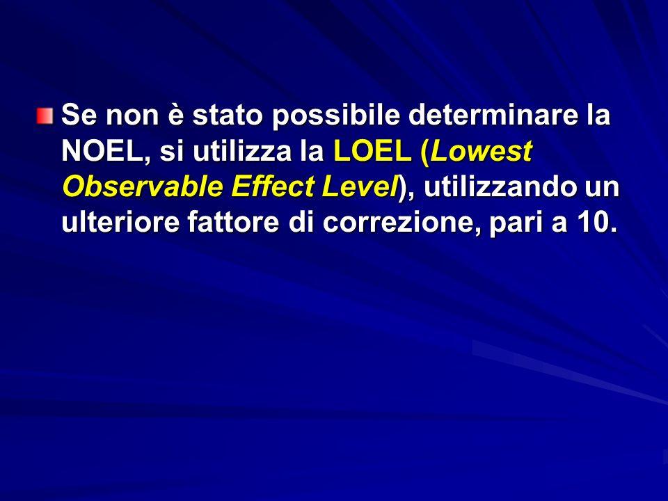 Se non è stato possibile determinare la NOEL, si utilizza la LOEL (Lowest Observable Effect Level), utilizzando un ulteriore fattore di correzione, pari a 10.