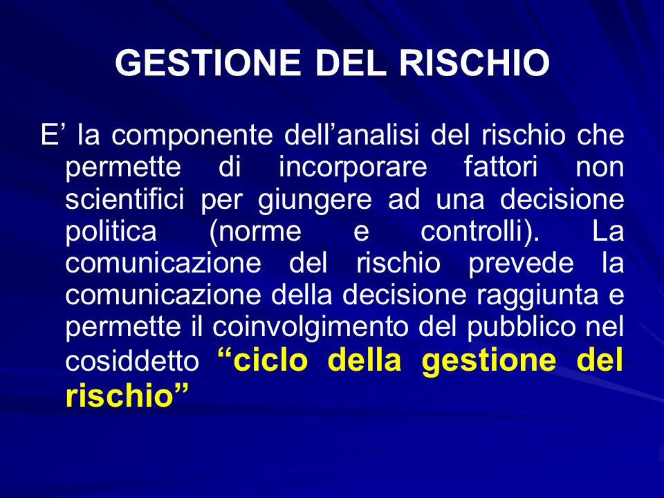 GESTIONE DEL RISCHIO