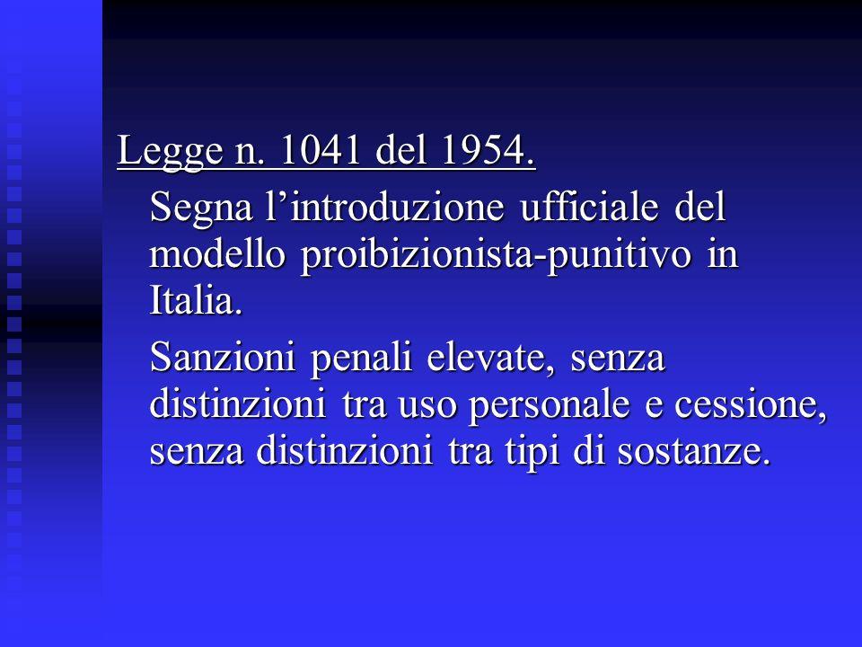 Legge n. 1041 del 1954.Segna l'introduzione ufficiale del modello proibizionista-punitivo in Italia.