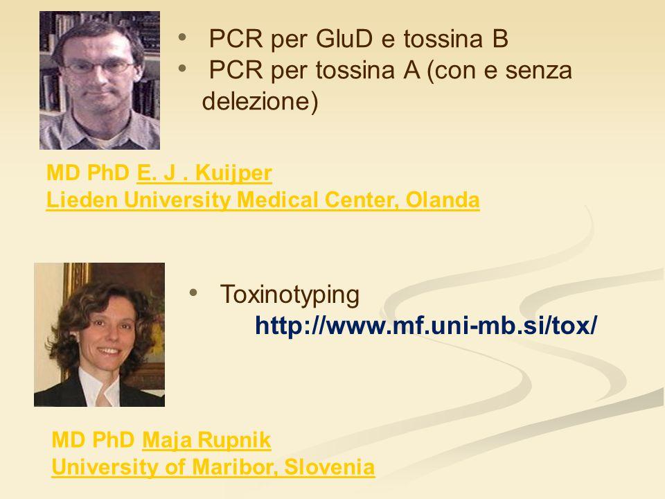PCR per tossina A (con e senza delezione)