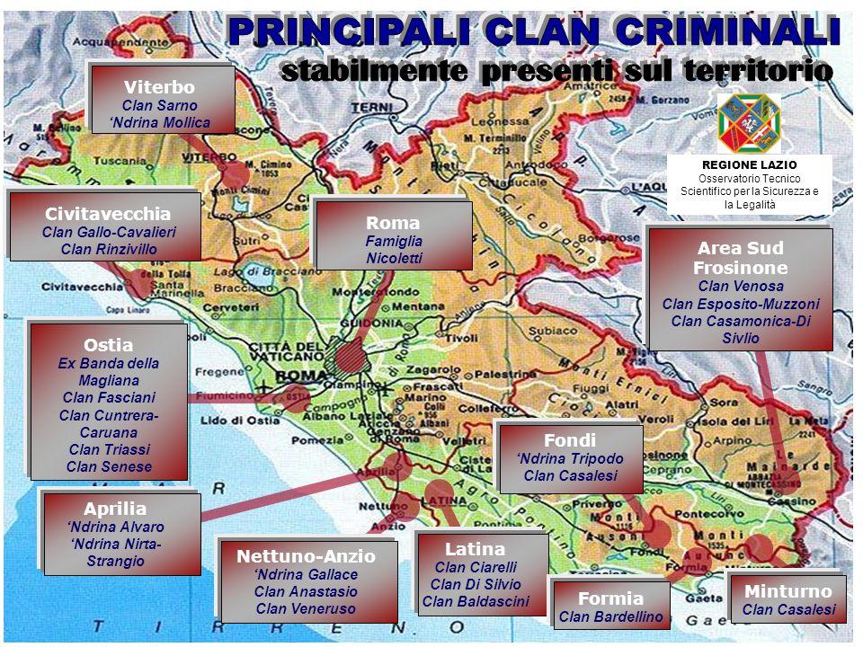 PRINCIPALI CLAN CRIMINALI stabilmente presenti sul territorio
