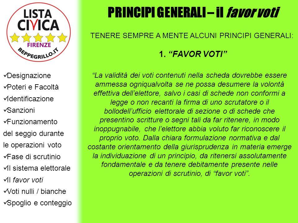 PRINCIPI GENERALI – il favor voti