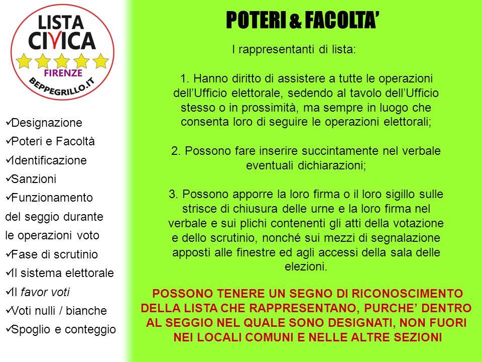 POTERI & FACOLTA' Designazione Poteri e Facoltà Identificazione