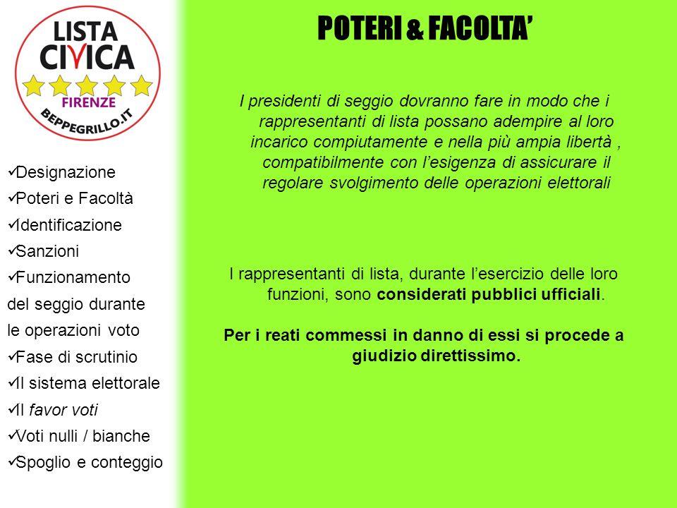POTERI & FACOLTA' Designazione