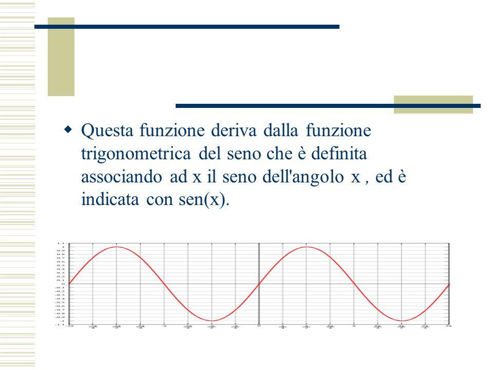 Questa funzione deriva dalla funzione trigonometrica del seno che è definita associando ad x il seno dell angolo x , ed è indicata con sen(x).