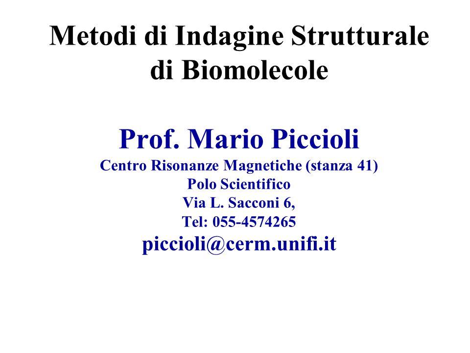 Metodi di Indagine Strutturale di Biomolecole Prof