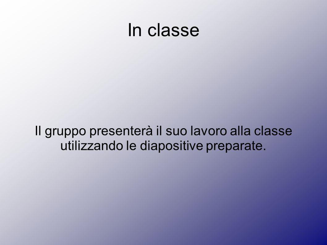 In classe Il gruppo presenterà il suo lavoro alla classe utilizzando le diapositive preparate.