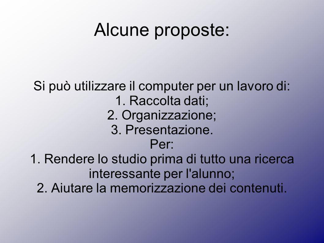 Alcune proposte: Si può utilizzare il computer per un lavoro di: