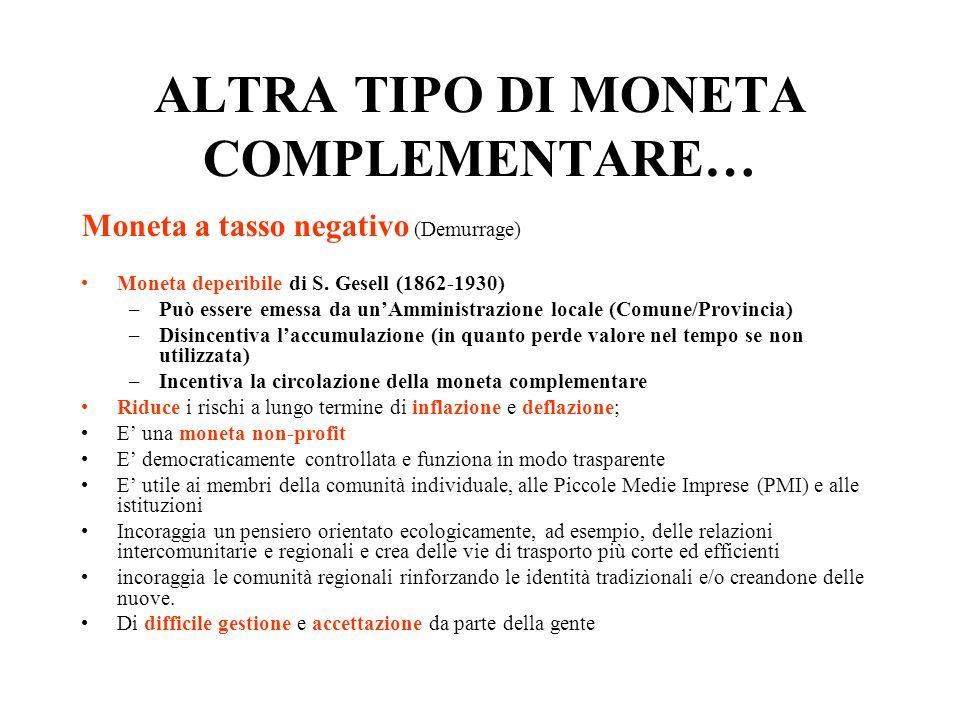 ALTRA TIPO DI MONETA COMPLEMENTARE…