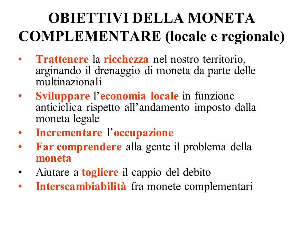 OBIETTIVI DELLA MONETA COMPLEMENTARE (locale e regionale)