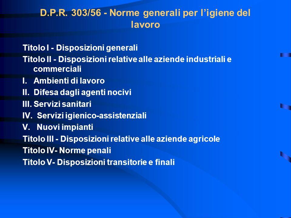 D.P.R. 303/56 - Norme generali per l'igiene del lavoro