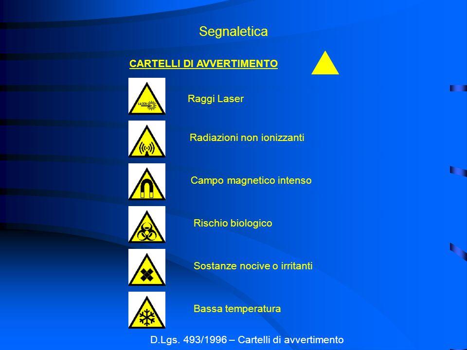 D.Lgs. 493/1996 – Cartelli di avvertimento