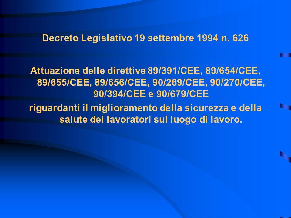 Decreto Legislativo 19 settembre 1994 n. 626