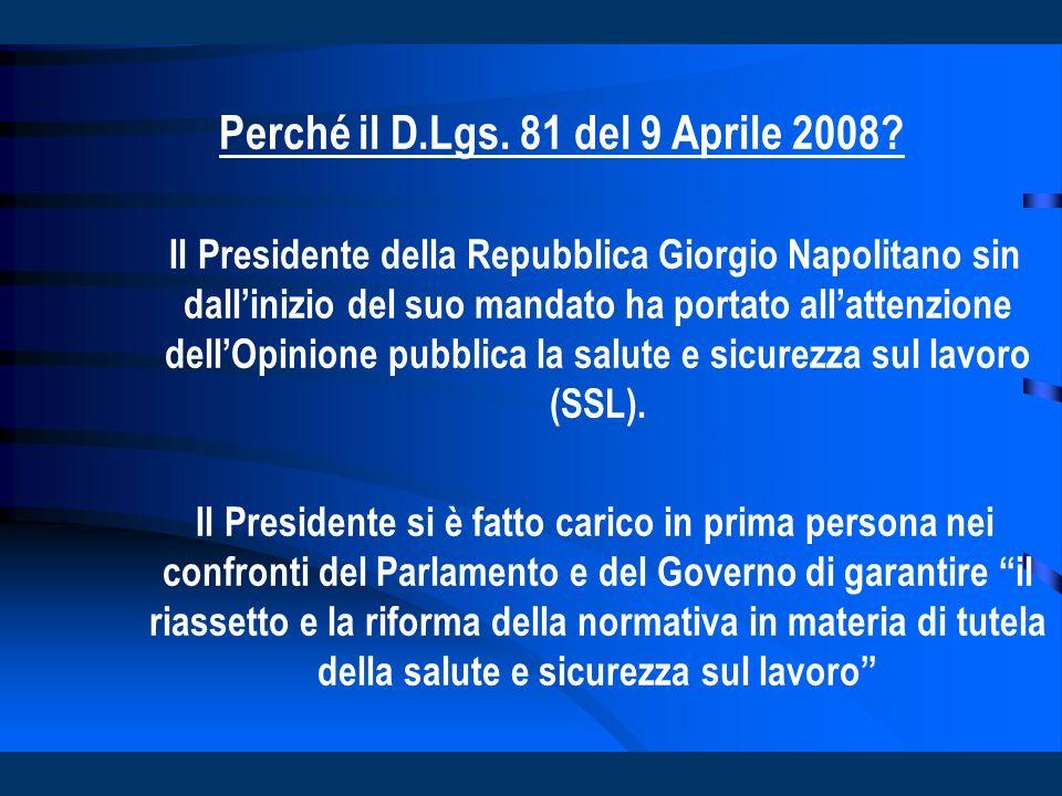 Perché il D.Lgs. 81 del 9 Aprile 2008