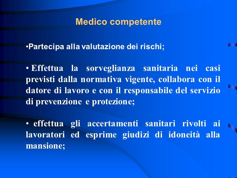 Medico competente Partecipa alla valutazione dei rischi;