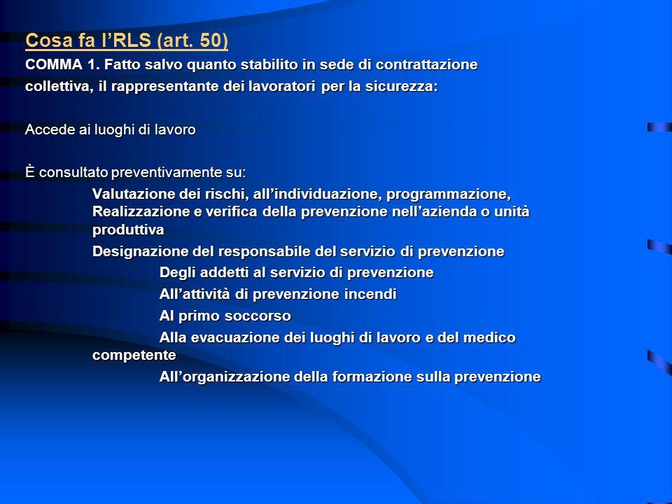 Cosa fa l'RLS (art. 50) COMMA 1. Fatto salvo quanto stabilito in sede di contrattazione.