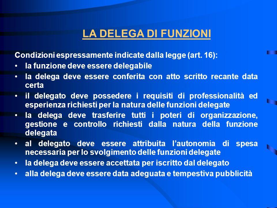 LA DELEGA DI FUNZIONI Condizioni espressamente indicate dalla legge (art. 16): la funzione deve essere delegabile.