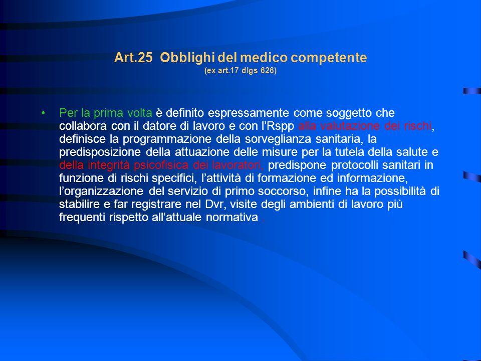 Art.25 Obblighi del medico competente (ex art.17 dlgs 626)