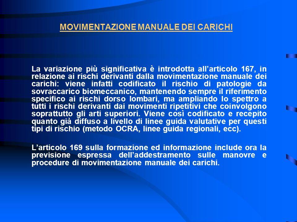 MOVIMENTAZIONE MANUALE DEI CARICHI