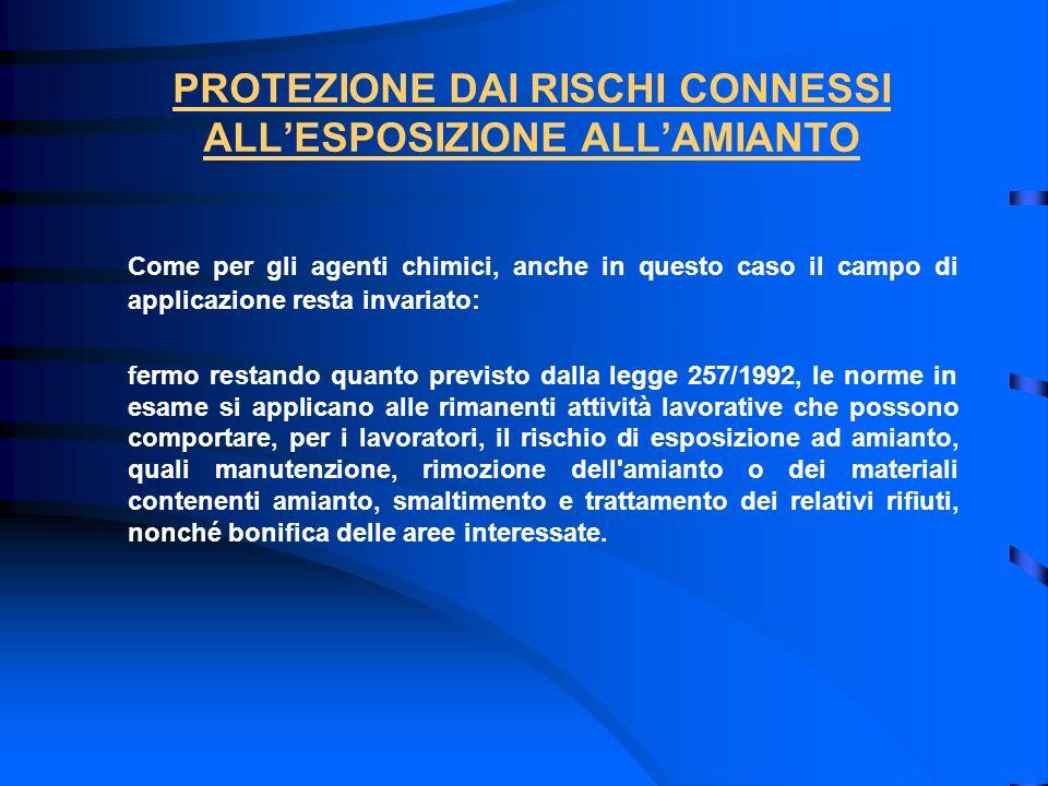 PROTEZIONE DAI RISCHI CONNESSI ALL'ESPOSIZIONE ALL'AMIANTO