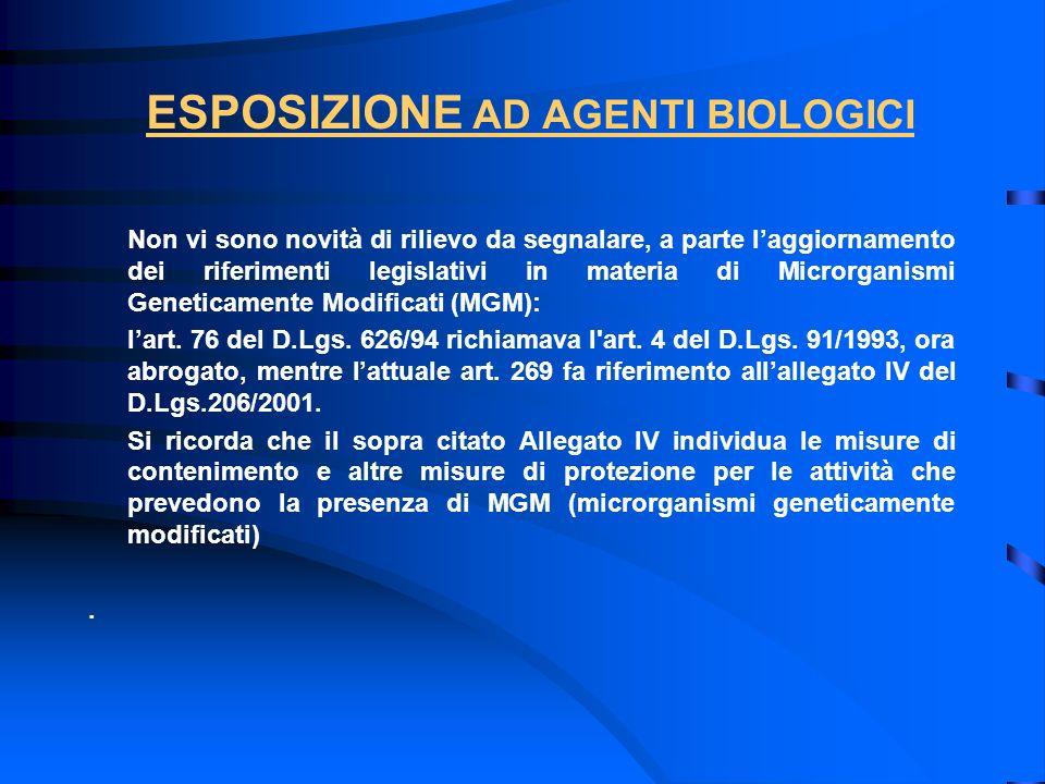 ESPOSIZIONE AD AGENTI BIOLOGICI