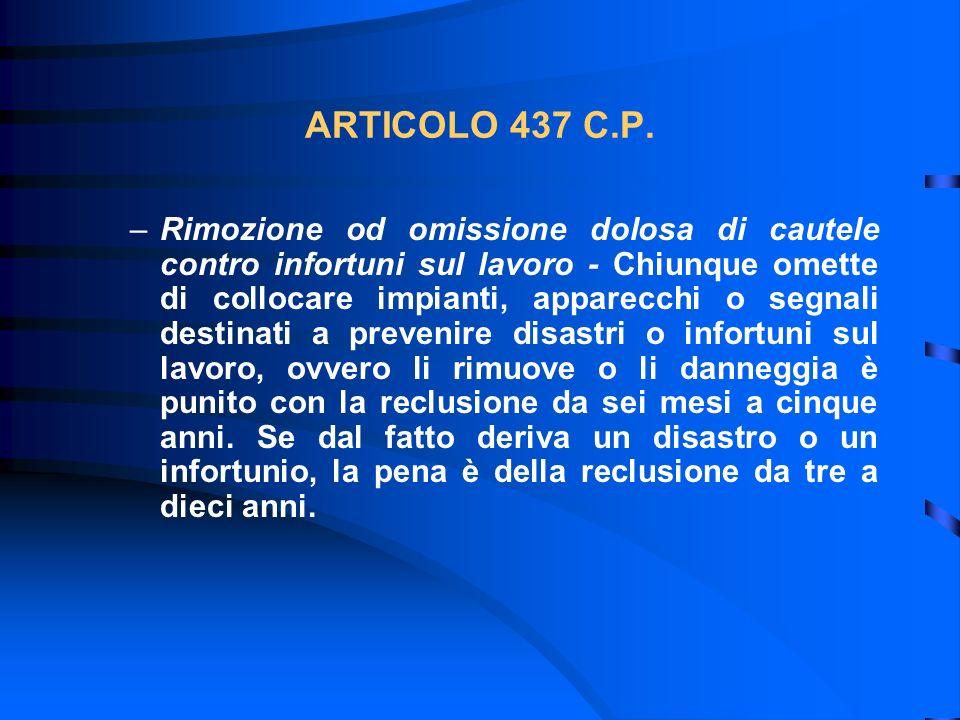 ARTICOLO 437 C.P.