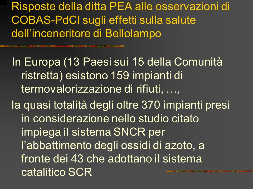 Risposte della ditta PEA alle osservazioni di COBAS-PdCI sugli effetti sulla salute dell'inceneritore di Bellolampo