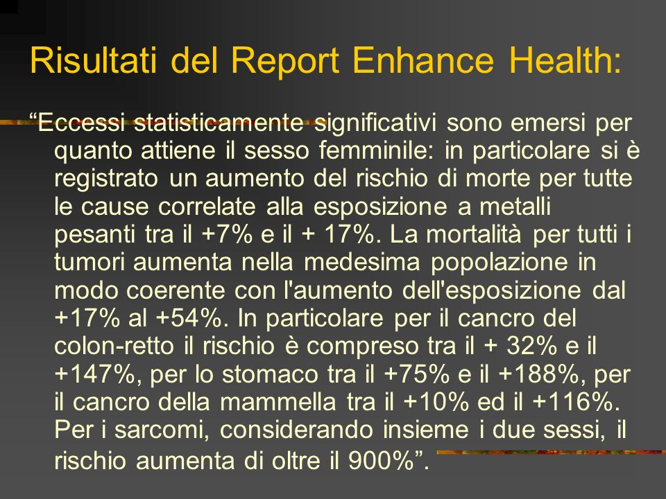 Risultati del Report Enhance Health: