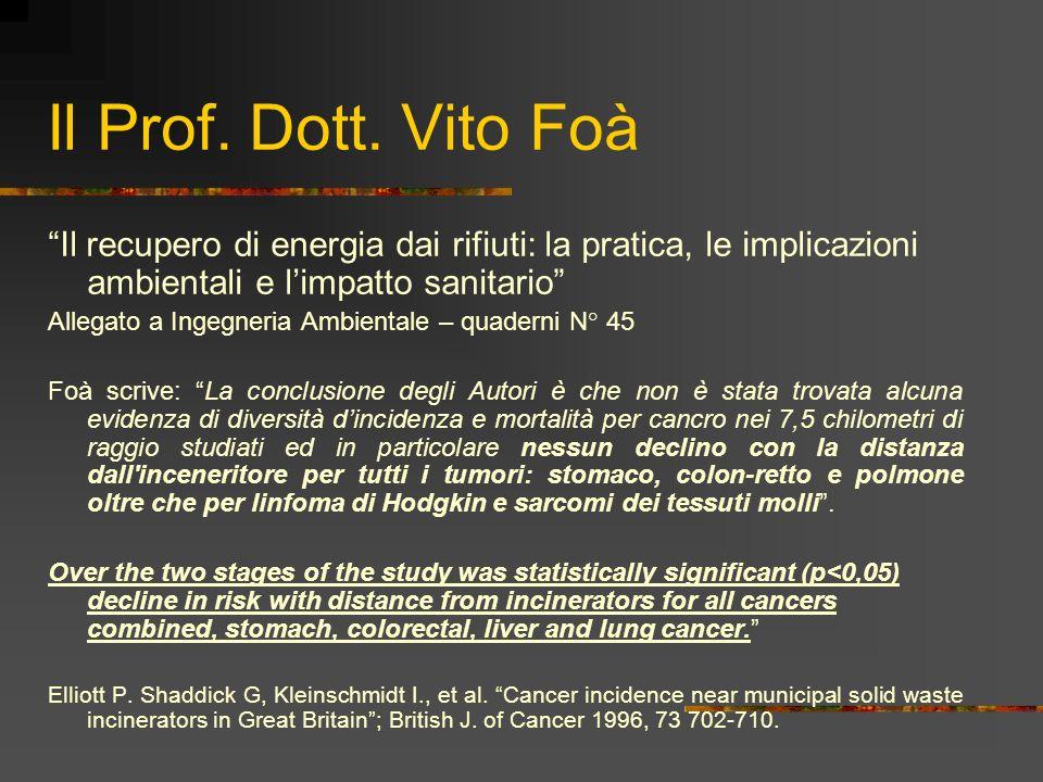 Il Prof. Dott. Vito Foà Il recupero di energia dai rifiuti: la pratica, le implicazioni ambientali e l'impatto sanitario
