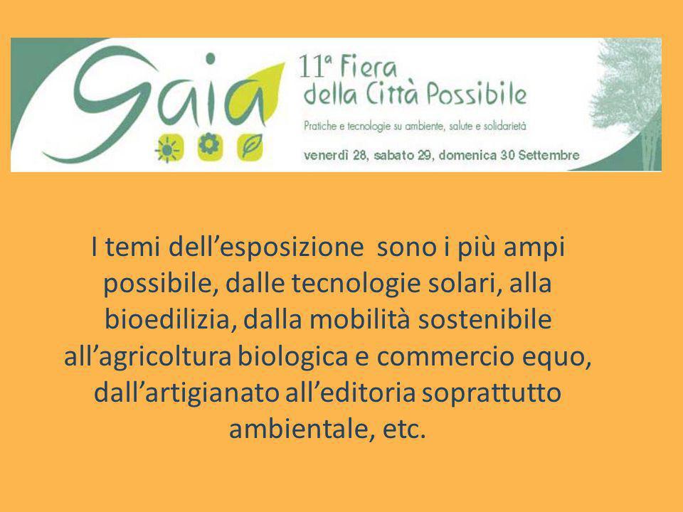 I temi dell'esposizione sono i più ampi possibile, dalle tecnologie solari, alla bioedilizia, dalla mobilità sostenibile all'agricoltura biologica e commercio equo, dall'artigianato all'editoria soprattutto ambientale, etc.
